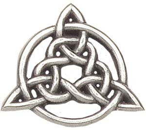 "Celtic Trinity Knot Lapel Pin - 1"" H - Antique Silver"