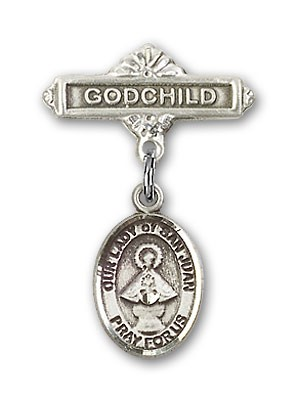 Baby Badge with Our Lady of San Juan Charm and Godchild Badge Pin - Silver tone