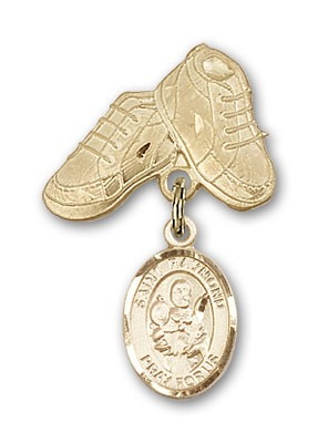 Pin Badge with St. Raymond Nonnatus Charm and Baby Boots Pin - 14K Solid Gold