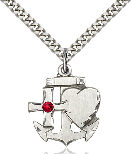 Faith Hope and Charity Pendant with Birthstone Option - Ruby Red