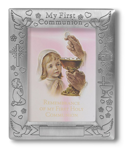 First Communion Pewter Photo Frame - Girl - Pewter