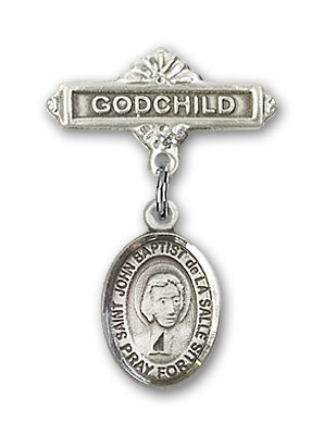 Pin Badge with St. John Baptist de la Salle Charm and Godchild Badge Pin - Silver tone