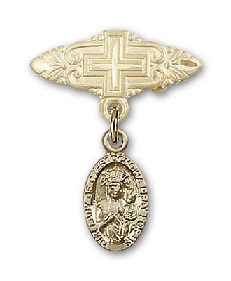 Pin Badge with Our Lady of Czestochowa Charm and Badge Pin with Cross - Gold Tone
