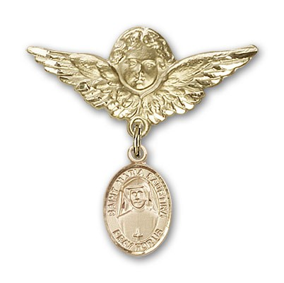 Pin Badge with St. Maria Faustina Charm and Angel with Larger Wings Badge Pin - 14K Solid Gold