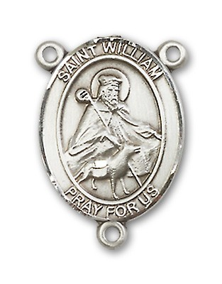 St. William of Rochester Rosary Centerpiece Sterling Silver or Pewter - Sterling Silver