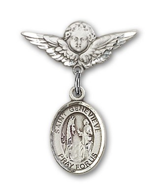 Pin Badge with St. Genevieve Charm and Angel with Smaller Wings Badge Pin - Silver tone