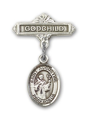 Pin Badge with St. Augustine Charm and Godchild Badge Pin - Silver tone