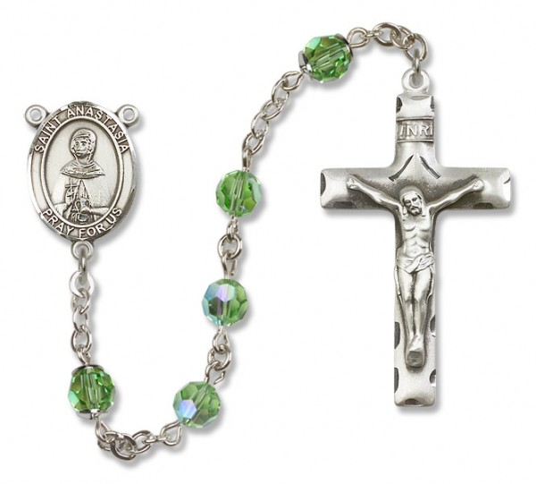 St. Anastasia Sterling Silver Heirloom Rosary Squared Crucifix - Peridot