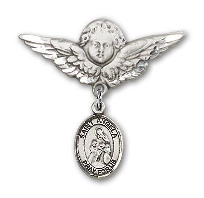 Pin Badge with St. Angela Merici Charm and Angel with Larger Wings Badge Pin - Silver tone