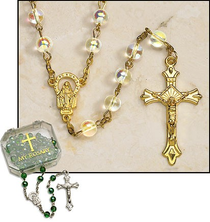 Clear Gold Plated Rosary - 4 per order - Clear