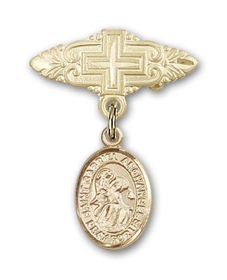 Pin Badge with St. Gabriel the Archangel Charm and Badge Pin with Cross - Gold Tone