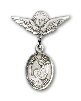 Pin Badge with St. Paula Charm and Angel with Smaller Wings Badge Pin - Silver tone