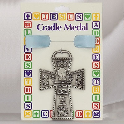 Protect This Boy Pewter Cross Crib Medal - Silver