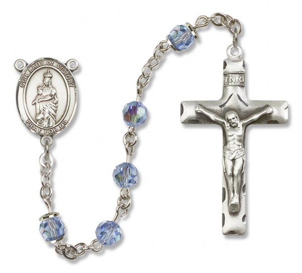 Our Lady of Victory Sterling Silver Heirloom Rosary Squared Crucifix - Light Sapphire