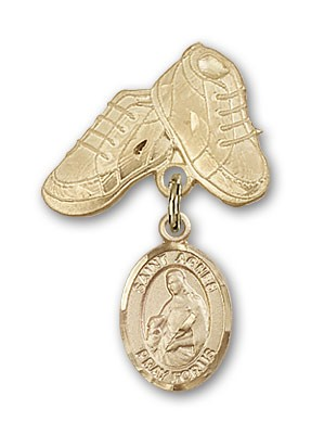 Pin Badge with St. Agnes of Rome Charm and Baby Boots Pin - 14K Yellow Gold