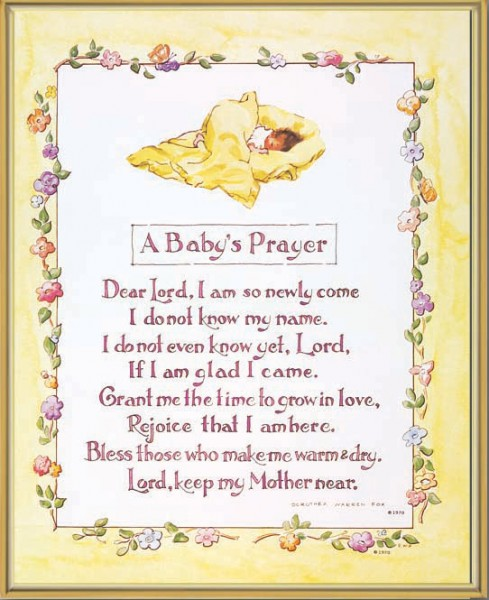 A Baby Prayer Gold Framed Print - Full Color