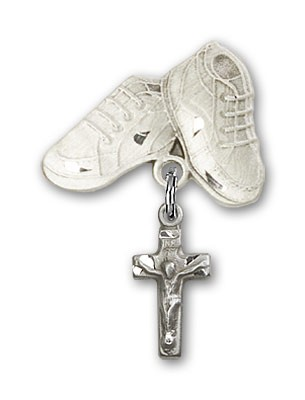 Baby Badge with Crucifix Charm and Baby Boots Pin - Silver tone