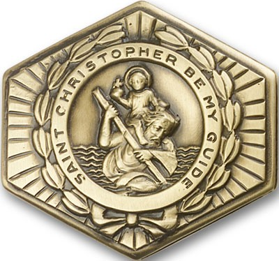St. Christopher Hexagon Visor Clip - Antique Gold