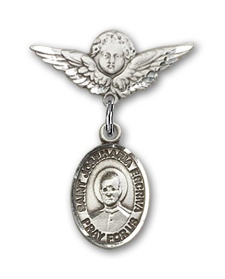 Pin Badge with St. Josemaria Escriva Charm and Angel with Smaller Wings Badge Pin - Silver tone