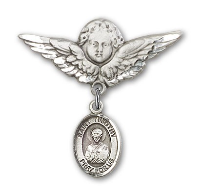 Pin Badge with St. Timothy Charm and Angel with Larger Wings Badge Pin - Silver tone