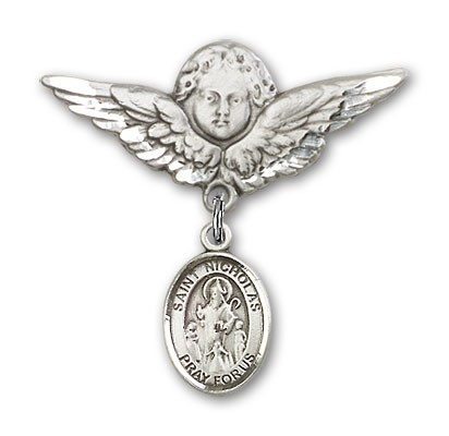 Pin Badge with St. Nicholas Charm and Angel with Larger Wings Badge Pin - Silver tone