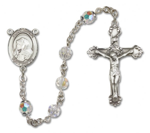 St. Bruno Sterling Silver Heirloom Rosary Fancy Crucifix - Crystal