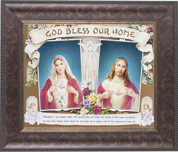 God Bless Our Home Sacred Heart and Immaculate Heart Framed Print - #124 Frame