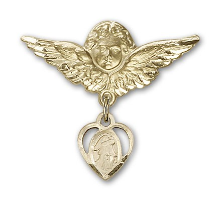 Pin Badge with Guardian Angel Charm and Angel with Larger Wings Badge Pin - 14K Solid Gold