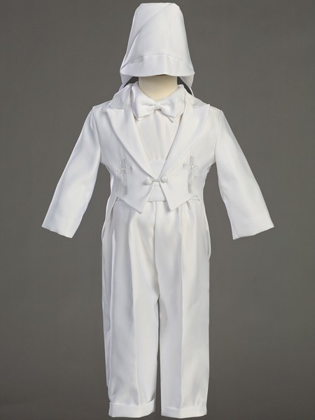 Boy's Round Tail Satin Baptism Suit with Cummerbund - White