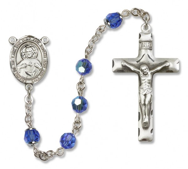 Scapular Sterling Silver Heirloom Rosary Squared Crucifix - Sapphire