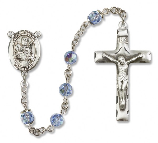 St. Raymond Nonnatus Sterling Silver Heirloom Rosary Squared Crucifix - Light Sapphire