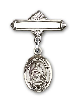 Pin Badge with St. Charles Borromeo Charm and Polished Engravable Badge Pin - Silver tone