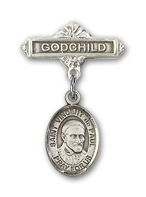 Pin Badge with St. Vincent de Paul Charm and Godchild Badge Pin - Silver tone