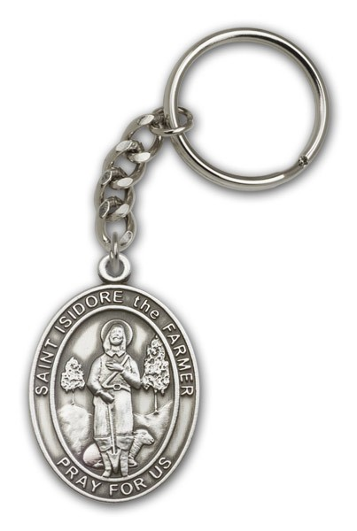 St. Isidore the Farmer Keychain - Antique Silver