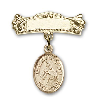 Pin Badge with St. Maria Goretti Charm and Arched Polished Engravable Badge Pin - Gold Tone