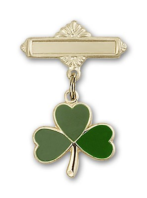 Pin Badge with Shamrock Charm and Polished Engravable Badge Pin - 14K Solid Gold