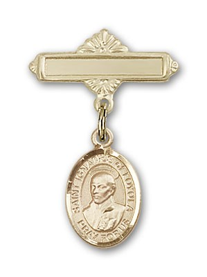 Pin Badge with St. Ignatius Charm and Polished Engravable Badge Pin - 14K Yellow Gold