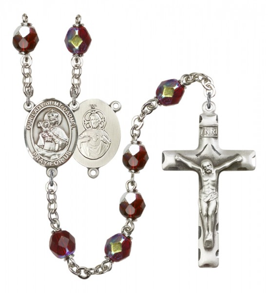 Men's Our Lady of Mount Carmel Silver Plated Rosary - Garnet