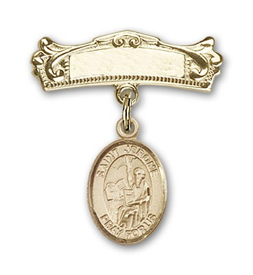 Pin Badge with St. Jerome Charm and Arched Polished Engravable Badge Pin - 14K Solid Gold