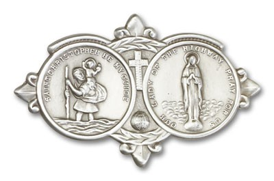 St. Christopher  & Our Lady of the Highway Visor Clip - Antique Silver