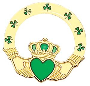"Claddagh Lapel Pin - 1"" - Green 
