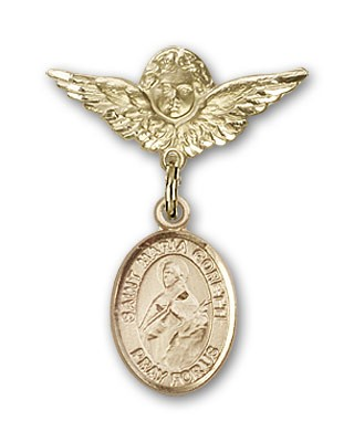 Pin Badge with St. Maria Goretti Charm and Angel with Smaller Wings Badge Pin - 14K Yellow Gold