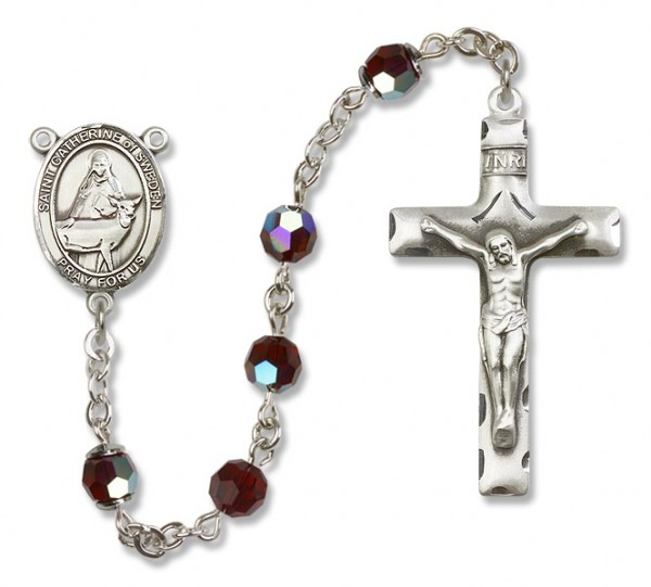 St. Catherine of Sweden Sterling Silver Heirloom Rosary Squared Crucifix - Garnet