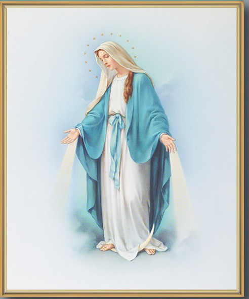 Our Lady of Grace Blue and White with Goldtone Frame - Full Color