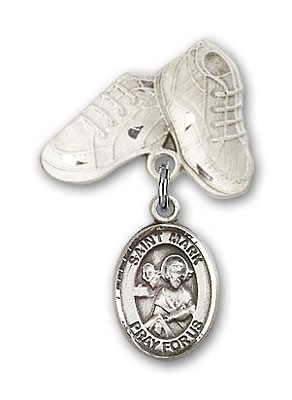 Pin Badge with St. Mark the Evangelist Charm and Baby Boots Pin - Silver tone