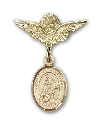 Pin Badge with St. Martin of Tours Charm and Angel with Smaller Wings Badge Pin - Gold Tone