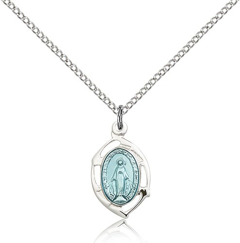 Small Oval Tip Miraculous Medal Necklace - Sterling Silver