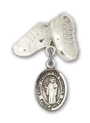 Pin Badge with St. Joseph the Worker Charm and Baby Boots Pin - Silver tone