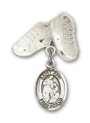 Pin Badge with St. Ann Charm and Baby Boots Pin - Silver tone