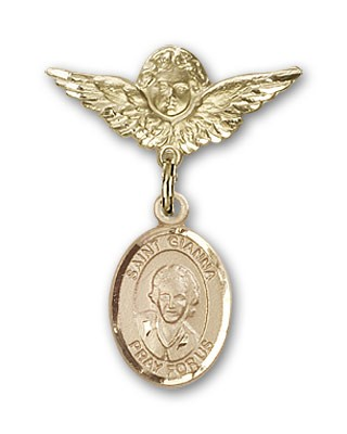 Pin Badge with St. Gianna Beretta Molla Charm and Angel with Smaller Wings Badge Pin - 14K Yellow Gold